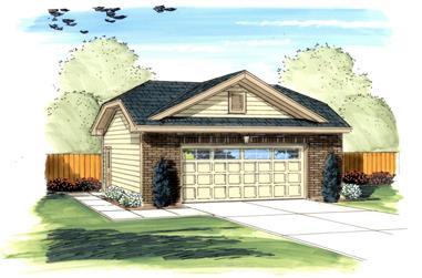 2-Car, 544 Sq Ft Traditional Garage Plan - 100-1185 - Main Exterior