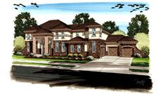 This is an artist's colored rendering of these Luxury Homeplans.