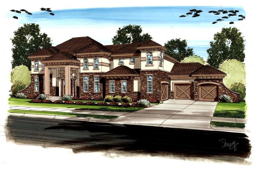 5-Bedroom, 4566 Sq Ft European House Plan - 100-1189 - Front Exterior