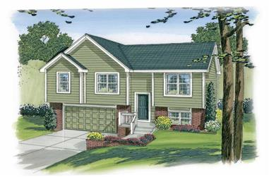 3-Bedroom, 1096 Sq Ft Multi-Level Home Plan - 100-1191 - Main Exterior