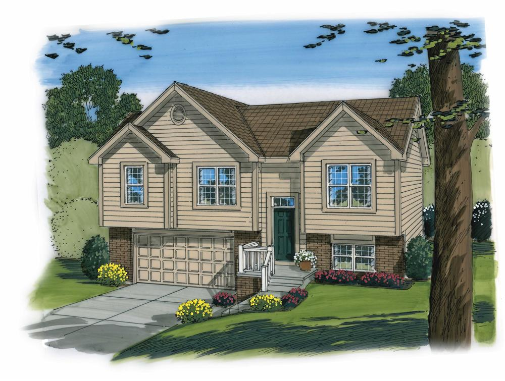 This is an artist's rendering of these Split-Level House Plans.