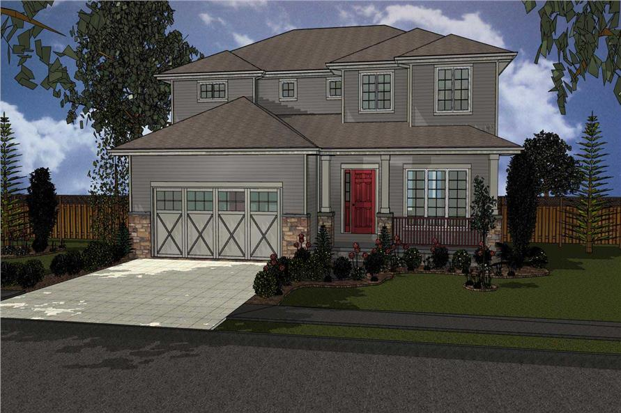 This is a computer rendering of these Prairie Home Plans.
