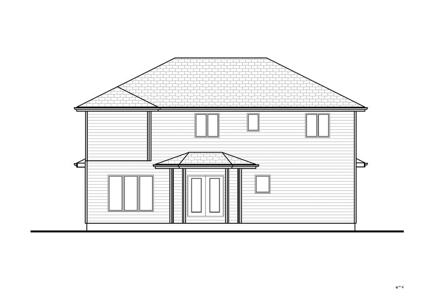 Home Plan Rear Elevation of this 4-Bedroom,2554 Sq Ft Plan -100-1193