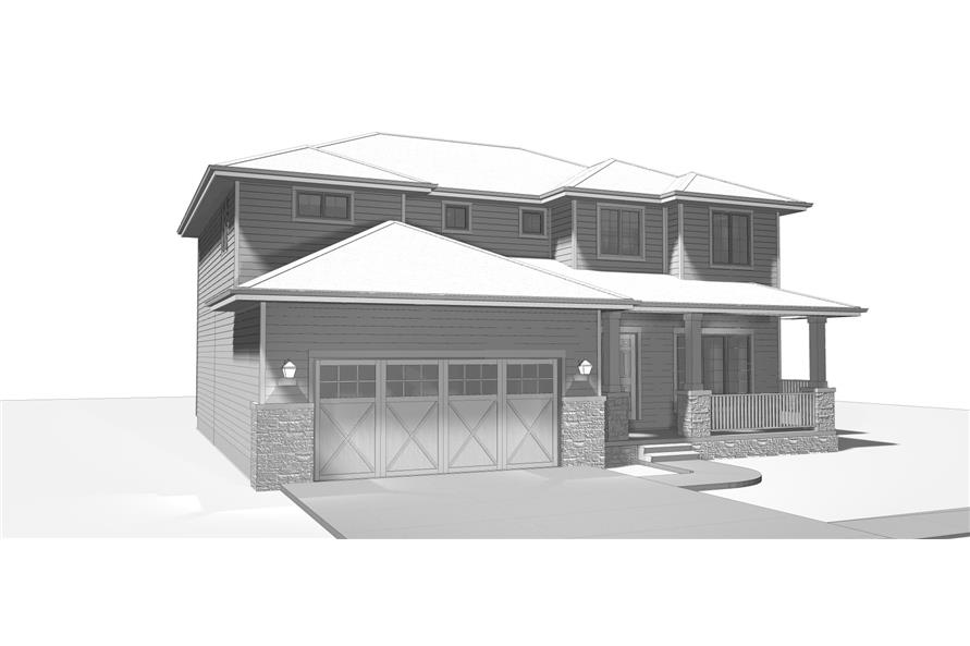 100-1193: Home Plan Rendering-Garage