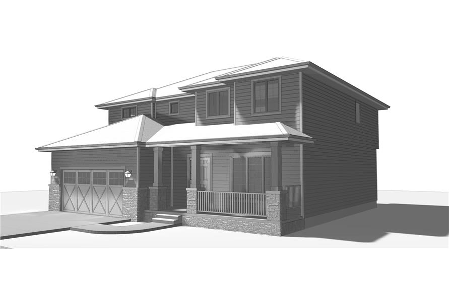 100-1193: Home Plan Rendering-Porch