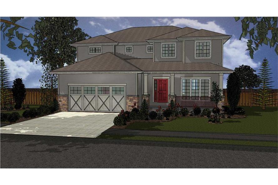 Home Plan Rendering of this 4-Bedroom,2554 Sq Ft Plan -2554