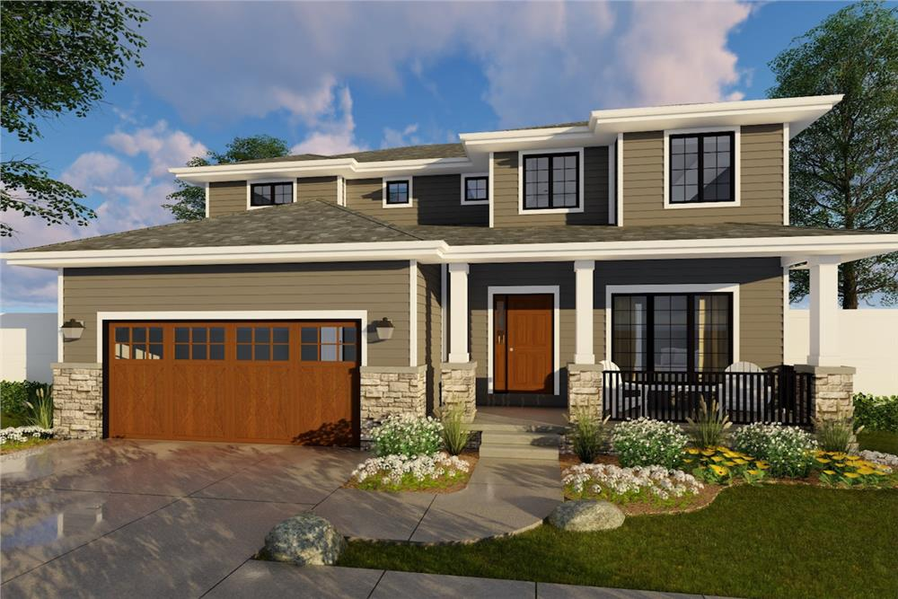 Color rendering of Prairie home plan (ThePlanCollection: House Plan #100-1193)