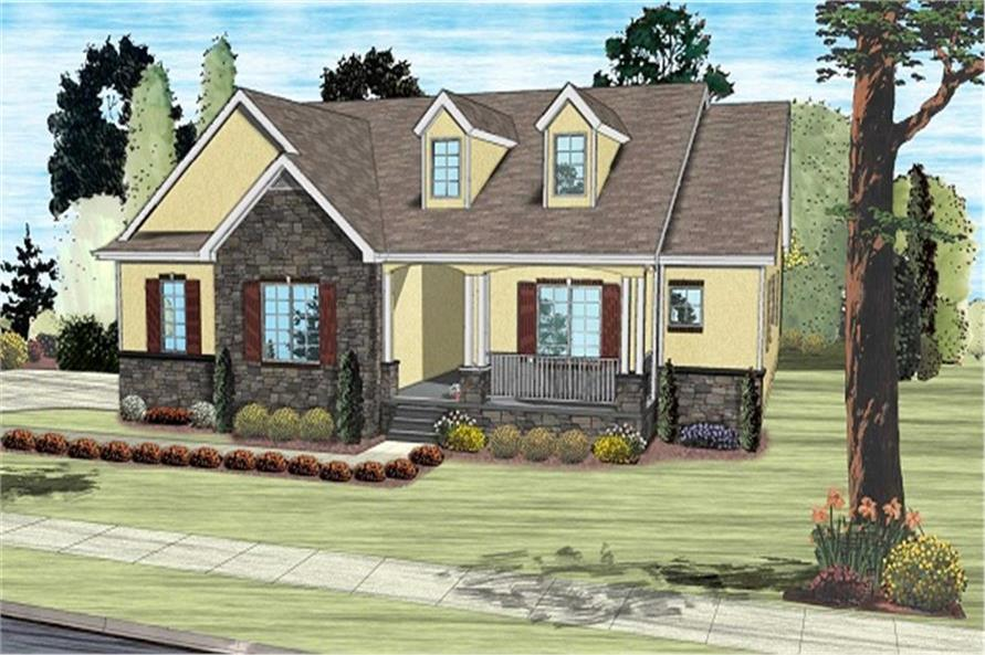 100-1195: Home Plan Rendering-Front Door