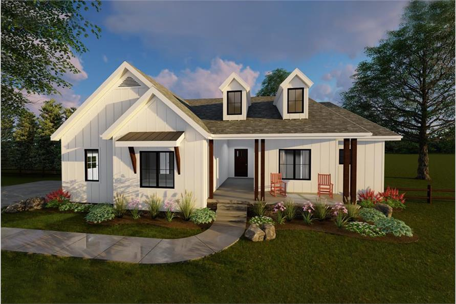 Color rendering of Country home plan (ThePlanCollection: House Plan #100-1195)