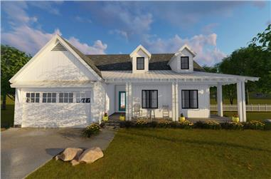 Front elevation of Ranch home (ThePlanCollection: House Plan #100-1202)