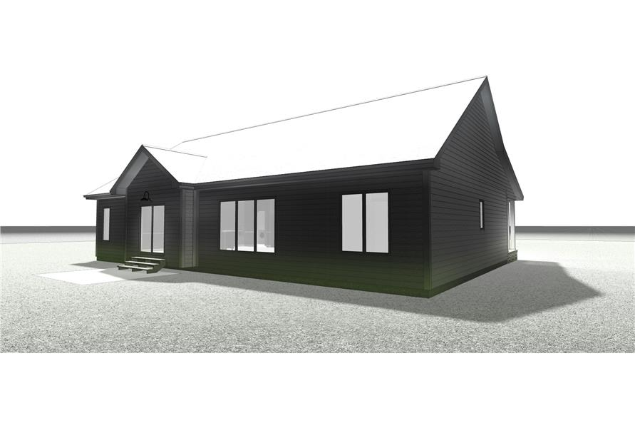100-1203: Home Plan Rear Elevation