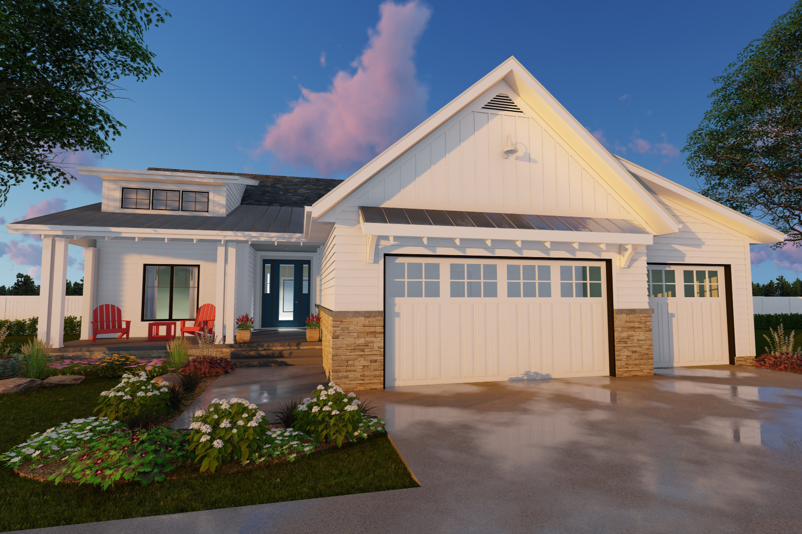 Farmhouse house plan 3 bedrms 2 baths 1701 sq ft for 100 story home