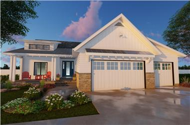 Color rendering of Farmhouse home plan (ThePlanCollection: House Plan #100-1203)