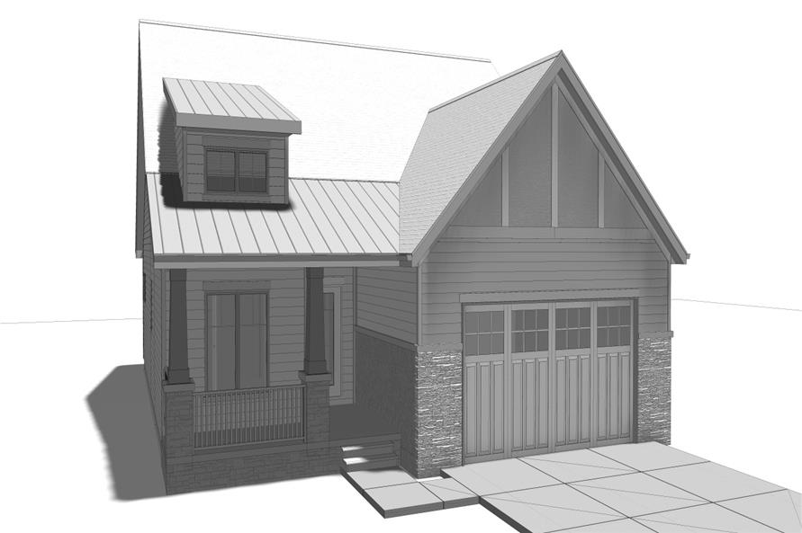 100-1205: Home Plan Front Elevation