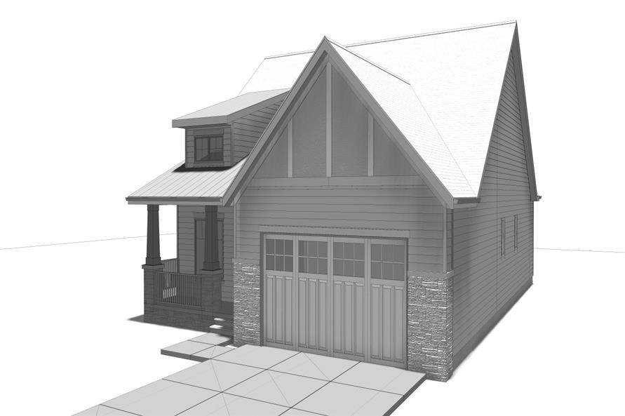 100-1205: Home Plan Right Elevation / Front