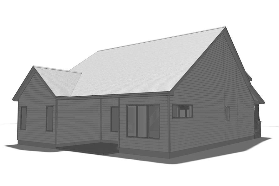 Home Plan Rear Elevation of this 2-Bedroom,1440 Sq Ft Plan -100-1205