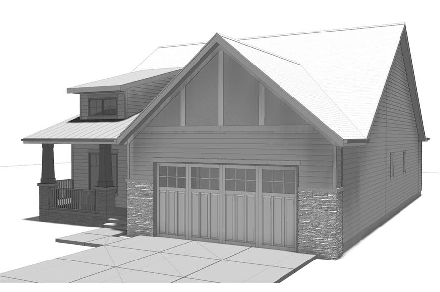 Home Plan Right Elevation of this 2-Bedroom,1440 Sq Ft Plan -100-1205