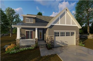 Front illustrated rendering of 2-Bedroom Craftsman home (ThePlanCollection: House Plan #100-1205)