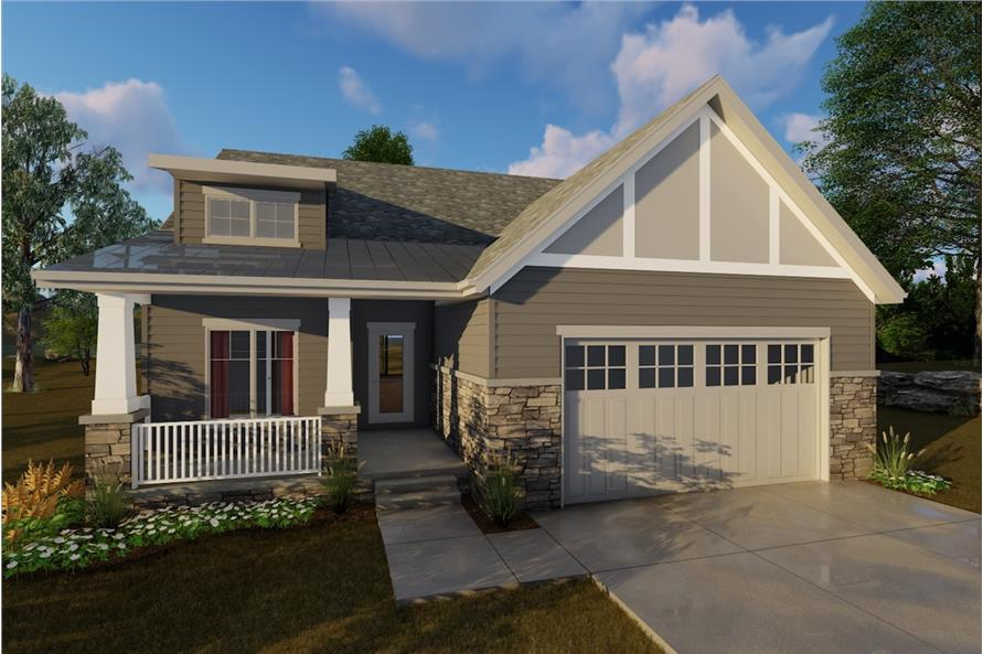 2-Bedroom, 1440 Sq Ft Craftsman Home Plan - 100-1205 - Main Exterior