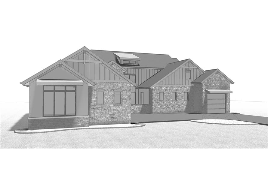 Home Plan Front Elevation of this 4-Bedroom,2969 Sq Ft Plan -100-1209