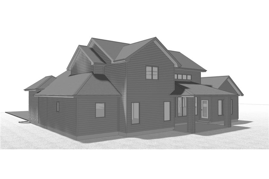 100-1209: Home Plan Rear Elevation