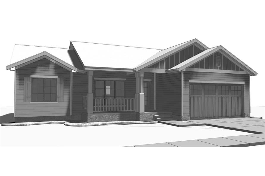 100-1210: Home Plan Rendering-Front Door