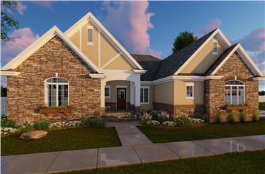 Color rendering of Traditional home plan (ThePlanCollection: House Plan #100-1212)