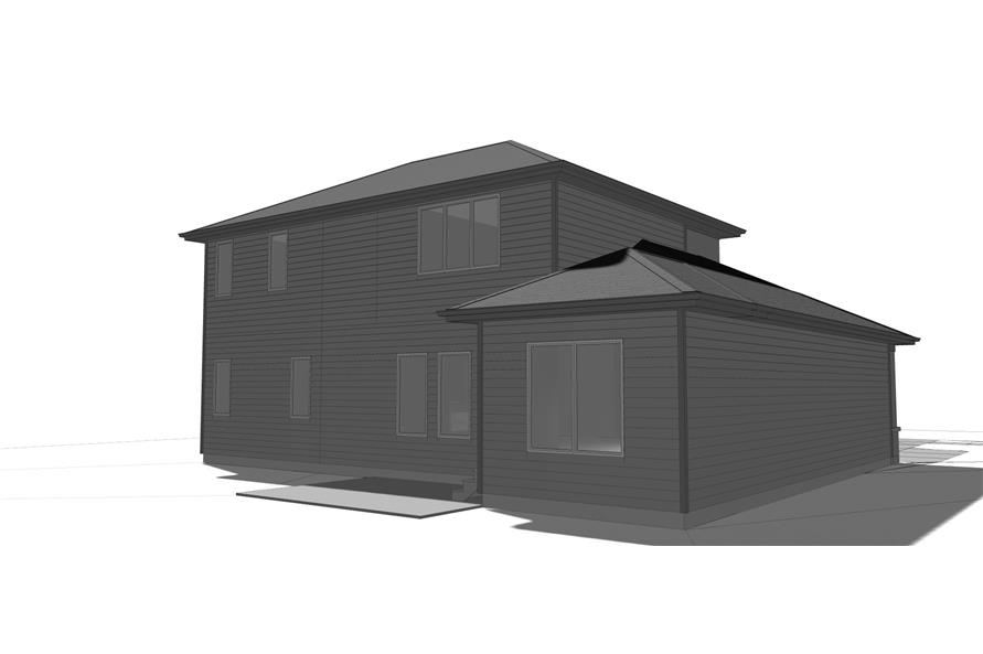 Home Plan Rear Elevation of this 4-Bedroom,2829 Sq Ft Plan -100-1213