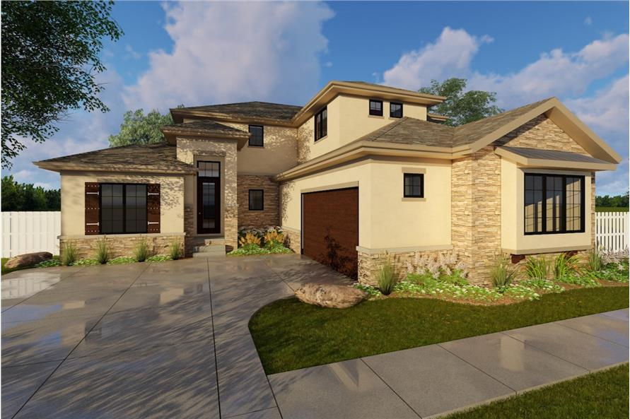 4-Bedroom, 2829 Sq Ft Prairie House Plan - 100-1213 - Front Exterior
