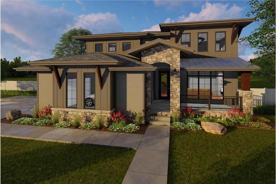4-Bedroom, 3156 Sq Ft Luxury House Plan - 100-1214 - Front Exterior