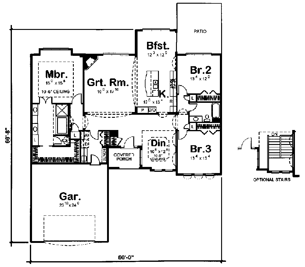 Mediterranean home plan 3 bedrms 2 baths 2212 sq ft for 100 sq ft house plans