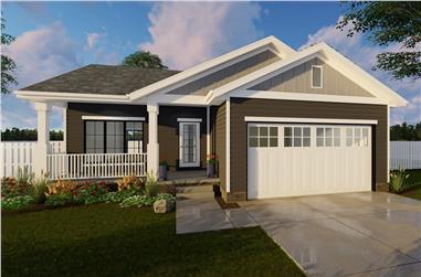 1-Bedroom, 831 Sq Ft Craftsman Home Plan - 100-1218 - Main Exterior