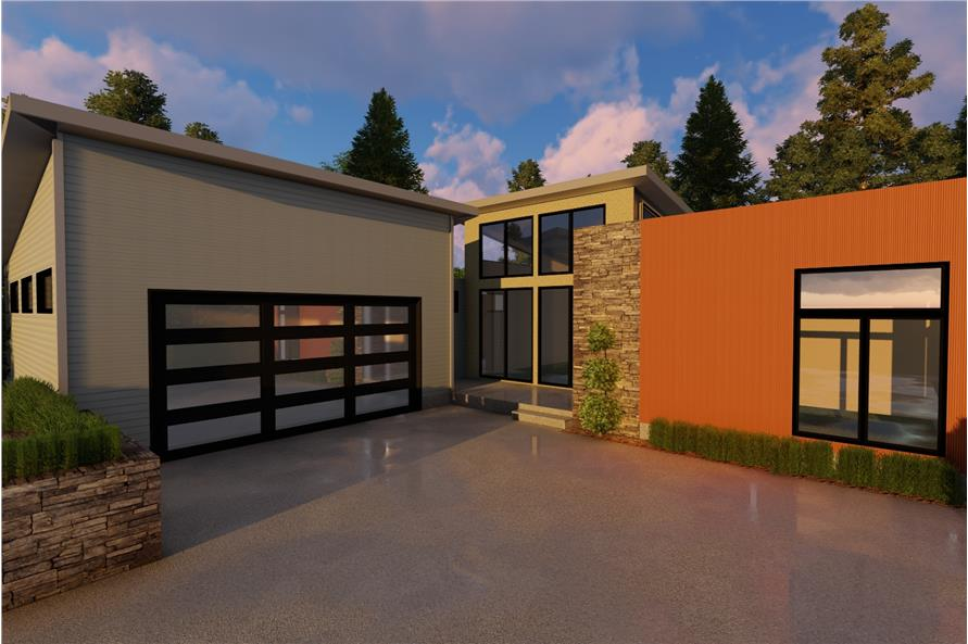 2-Bedroom, 1890 Sq Ft Contemporary Home - Plan 100-1224 - Main Exterior