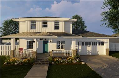 3-Bedroom, 2022 Sq Ft Prairie House Plan - 100-1229 - Front Exterior