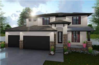 4-Bedroom, 2251 Sq Ft Mediterranean Home Plan - 100-1230 - Main Exterior
