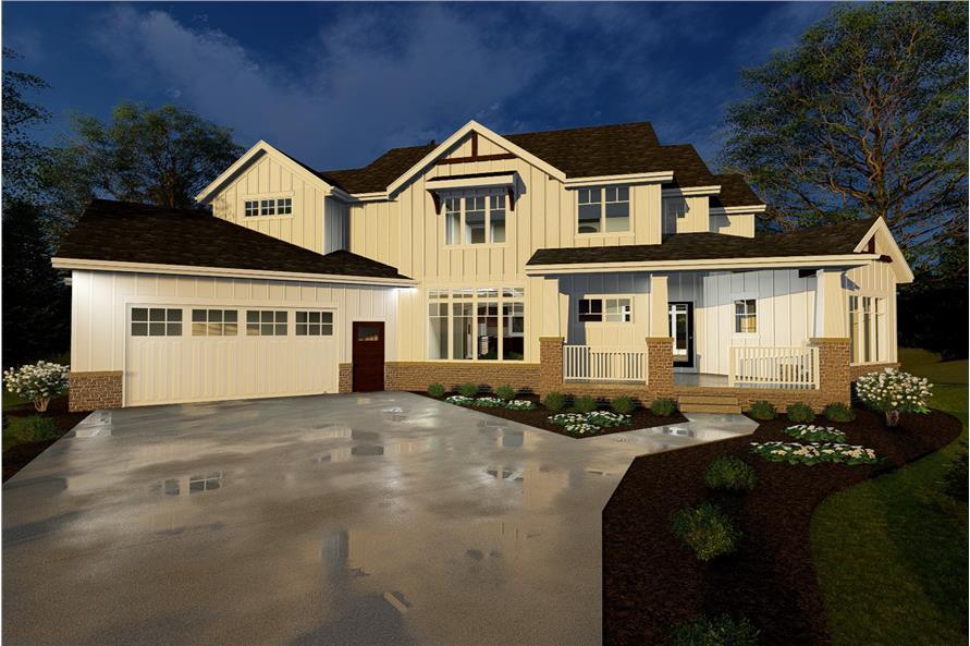 4-Bedroom, 3120 Sq Ft Farmhouse Home Plan - 100-1235 - Main Exterior