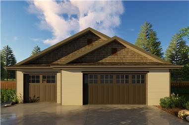 Color photograph of Craftsman style garage (ThePlanCollection: House Plan #100-1240)