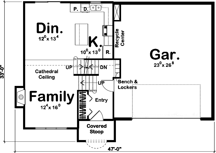 Craftsman Home Plan 3 Bedrms 2 Baths 1329 Sq Ft