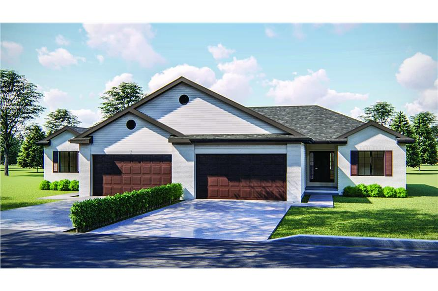 2-Bedroom, 1189 Sq Ft Multi-Unit Home Plan - 100-1248 - Main Exterior