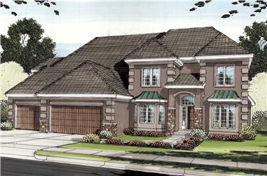 5-Bedroom, 4096 Sq Ft French House Plan - 100-1250 - Front Exterior
