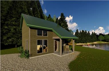 1-Bedroom, 592 Sq Ft Vacation Homes House Plan - 100-1254 - Front Exterior