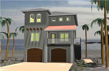 3-Bedroom, 1633 Sq Ft Coastal House Plan - 100-1256 - Front Exterior