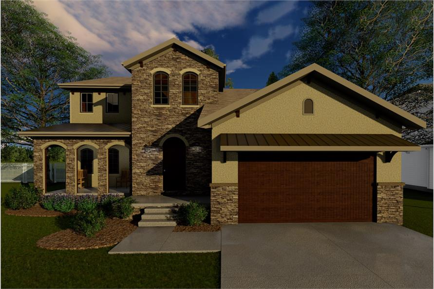 4-Bedroom, 2281 Sq Ft Tuscan House Plan - 100-1258 - Front Exterior