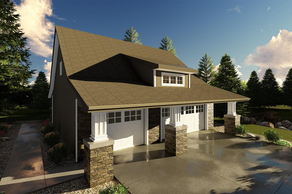 Front elevation of Garage with Apartment (ThePlanCollection: House Plan #100-1261)