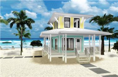 1-Bedroom, 533 Sq Ft Coastal House Plan - 100-1265 - Front Exterior