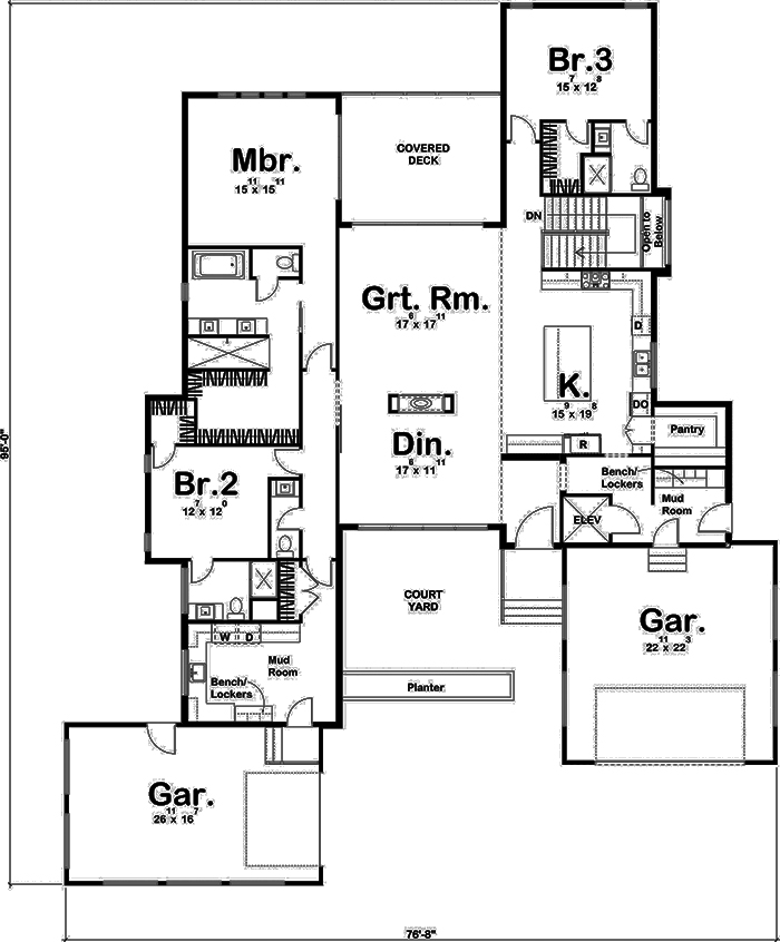 Modern House Plan 3 Bedrms 3 5 Baths 2923 Sq Ft