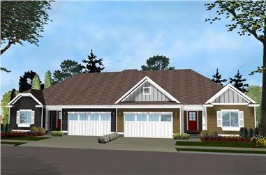 3-Bedroom, 1438 Sq Ft Multi-Unit House Plan - 100-1283 - Front Exterior