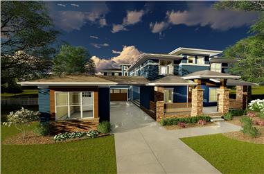 4-Bedroom, 3755 Sq Ft Prairie House Plan - 100-1284 - Front Exterior