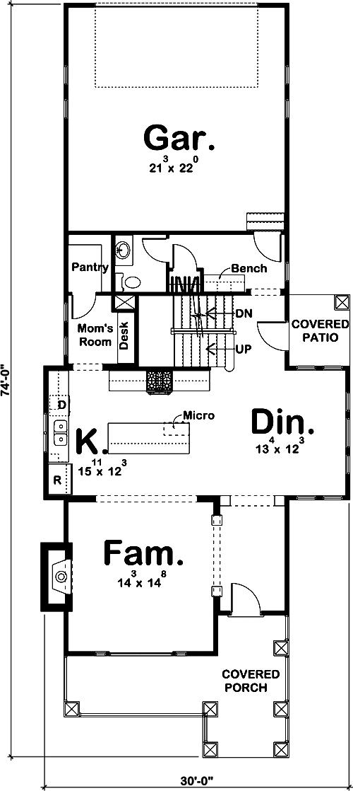 Craftsman House Plan 3 Bedrms 2 5 Baths 2307 Sq Ft