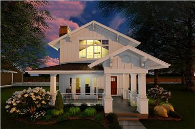 Front elevation of Craftsman home (ThePlanCollection: House Plan #100-1285)